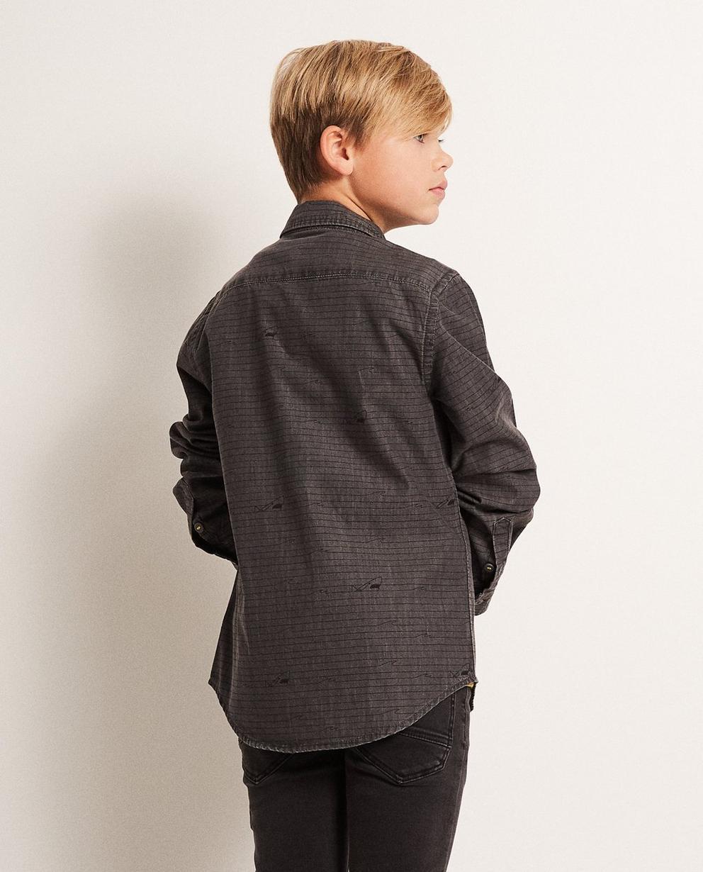Hemden - Dunkelgrau - Jeanshemd mit Haiprint